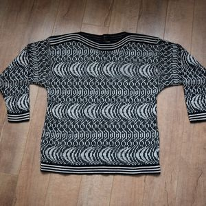 Vintage black, white and gold sweater